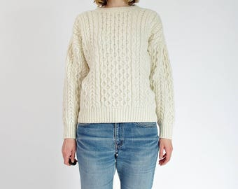 80s Highland Home Industries Off White Fisherman Cable Knit Pullover Sweater Made in Scotland / Size S-L