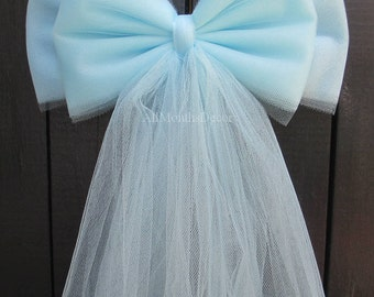 Light Blue Tulle Bow, Wedding Pew Bow, Baby Shower, It's A Boy Gender Reveal, Church Ceremony, Chair Sash, Party Bridal Decorations