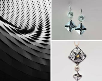 Paper Jewelry- Origami Pendant and Earrings by GunaDesign