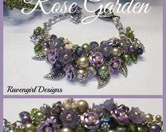 ROSE GARDEN Cluster Bracelet, Flower Bracelet, Crystals Pearls Bracelet, Czech Glass Bracelet, Lavender, Pink, Vintage Style, Ravengirl