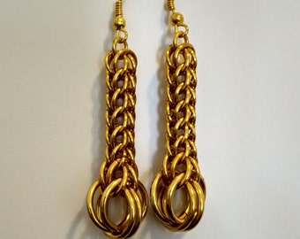 Dangle and drop earrings, Gold earrings, Chainmaille earrings, Chainmail jewelry, Fashion jewelry, Elegant earrings, OOAK Boho Earrings