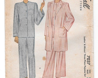 1940s ROBE & PAJAMAS ~ Vintage Lingerie Sewing Pattern ~ Three-Piece Pajama Lounge Set  Size 16  Bust 36 ~ McCall 7037 ~ Buttons ~ Pockets