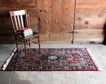 Vintage Wool Persian Rug, Boho Rug 3 x 5, Vintage Boho Rug, Mid Century Entryway Rug, Bohemian Rug, Small Persian Rug, Oriental Rug