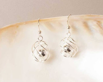 Sterling Silver Ball Cage Earrings, Silver Ball Earrings, Silver Drop Earrings, Silver Dangle Earrings, Sterling Silver Jewelry, UK Seller
