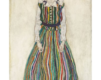 Portrait of A Woman, Edith, the Artist's Wife, Egon Schiele, Austrian Oil Painting Print