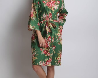 Dark green bridesmaid robe, bridesmaid gown green bridesmaid robe, forest green dress, dark green bridesmaids robes, bridesmaid robes