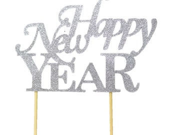 Silver Happy New Year Cake Topper, 1pc, New Year's, Silver Glitter, Cake Decor, Handcrafted Party Decor, Party Supplies