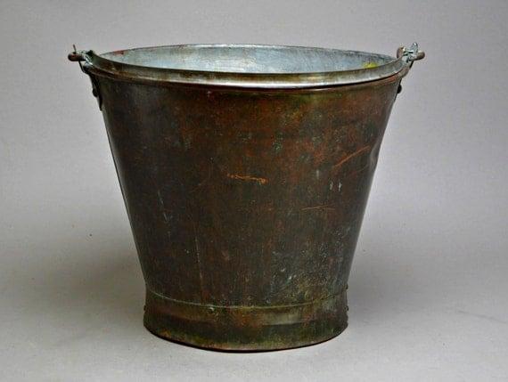 Antique japanese copper brass metal bucket planter flower for Metal bucket planter