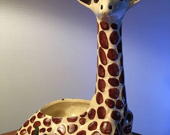 Vintage tall giraffe pottery planter