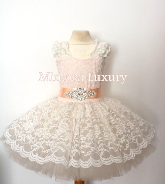 Lace Ivory Peach Flower girl dress, Ivory Champagne Birthday dress, Cream Peach tutu dress, Christening lace tutu dress, Baptism lace dress