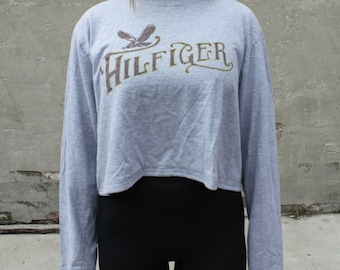 Tommy Hilfiger Long Sleeve Crop Top in Grey