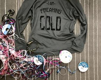 I Am Freaking Cold. Light Sweatshirt. Winter Shirt.  Women's Clothing. Eco-Sweatshirt. Cozy-Off Shoulder Shirt. Slouchy Shirt.