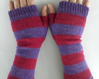 Fingerless gloves, arm warmers, wrist warmers, hand warmers, women's gloves, ladies gloves, stripe gloves, purple red gloves,