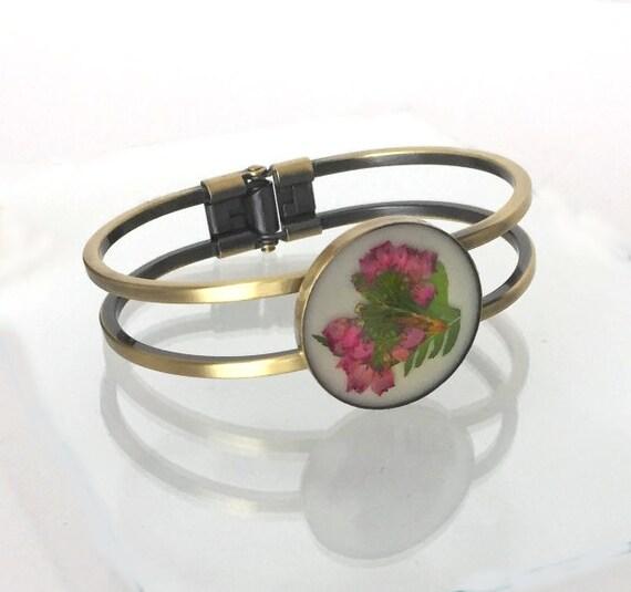 Outlander Scottish Heather Cuff Bracelet - Jewelry - Gold toned - Claire Gabaldon Scotland FT35