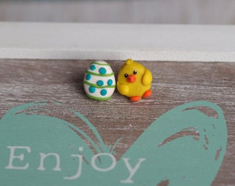 Easter Gifts, Easter Jewelry, Easter Jewelry Gift, Easter Earrings, Chick Jewelry, Play Jewelry, Spring Studs, Easter Egg Jewelry