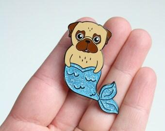Pug Mermaid Pin - Soft Enamel - Glitter - hard enamel