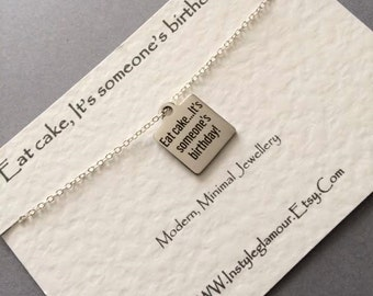 Cake Necklace, Silver Charm Necklace, Stainless Steel  Necklace, Food Jewelry,Mothers Day Gift