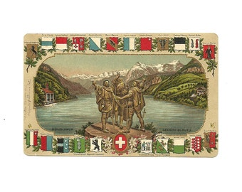Swiss Colorized Embossed Photo Postcard , Grütli Oath, S Collectible Card
