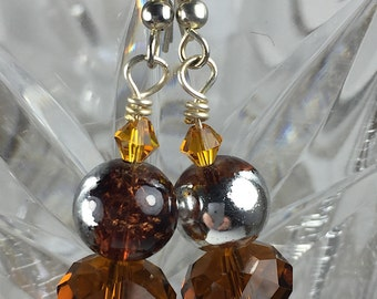 Silver and Brown Explosion Earrings
