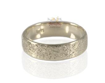 White gold wedding ring 14k 18k  Organic texture wedding band Men's gold wedding ring Women wedding band