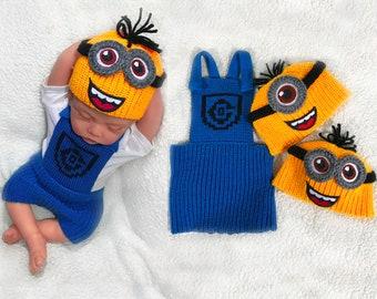 Minion baby clothing set crochet baby costume crochet diaper cover set baby clothes set baby minion costume baby boy crochet baby outfit