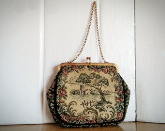French Tapestry, Vintage Tapestry, Evening Bag, La Marquise Gold Clasp, Gold Chain, Fancy Needlework, Petite Point Bag
