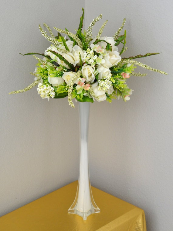 Wedding Centerpiece Set Eiffel Tower Vase And Ivory Rose