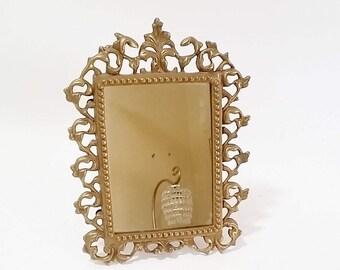 Gold Vanity Mirror, Ornate Gold Makeup Mirror, Hollywood Regency Mirror, Decorative Wall Mirrors, Wall Mirrors Decorative