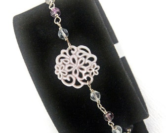 Wire Wrapping Silver 925 Pearl and Fluorite bracelet