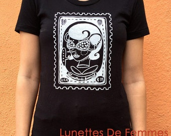 SALE - Women's Screen Printed Tees - Available in 2 Designs - Black