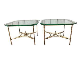 Hollywood Regency Faux Bamboo Side Tables - A Pair