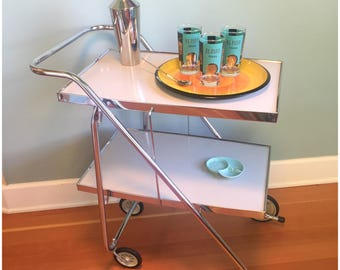 Vintage Mid Century Chrome/White Bar Cart, FOLDING Serving Cart With Two Shelves, Rolling Tea Cart, Retro Chrome White Kitchen Cart.