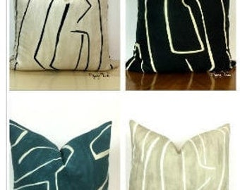 Kelly Wearstler Graffito Pillow Cover - Four Colorways - Choose - 1 SIDED OR 2 SIDED - Linen/Onyx - Onyx/Beige - Teal/Pearl - Beige/Ivory