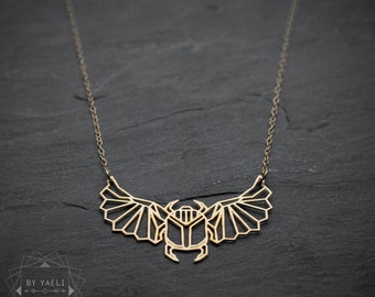 Egyptian jewelry, bug necklace, beetle necklace, Egyptian Scarab Necklace, beetle pendant, geometric necklace, insect jewelry.