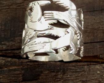 Flying birds ring |Birds ring |Silver band ring |bird in flight ring |925 sterling silver adjustable  bird ring |Fikos birds ring