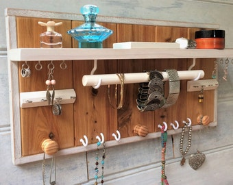 Cypress jewelry organizer with shelf - Jewellery organiser - Necklace holder - Studs & rings box - Earrings - Bangles - Wood knobs