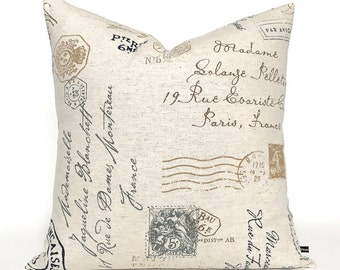 French script pillow cover stamp postmark indigo blue brown 20x20 18x18 16x16 cotton linen toss cushion sofa throw #428 FlossieandRay