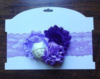 Lavender Headband, Flower Headband, Baby Headband, Newborn Headband, Photoshoot, Lace Headband, Headband, Cakesmash, Photoprop, Singed Edge