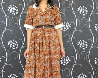 Vintage Midi Dress in Leopard Print 80's Dress Long Vintage Dress Retro Women's Clothing