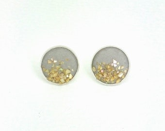 Concrete shell mother of Pearl - gift - Stud Earrings
