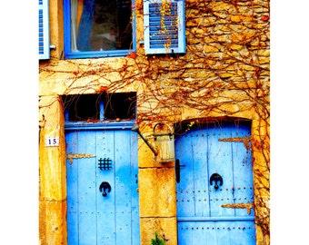 Blue Door Print, Belgium Photography, Gift for Her, Travel Photography, Gift for Him, Hanging Wall Art, Kitchen Decor, 9x16 - Blue Doors