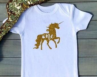 Unicorn Birthday Shirt Girl, Unicorn Birthday Onesie, 1st birthday Unicorn Girl, Baby Girl shirt