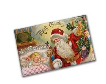 SALE Vintage Santa Christmas Magnet | Large Refrigerator magnet | Christmas Gift under 20 | Kitchen Decor | Santa Decoration