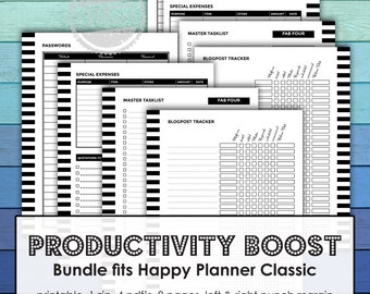 Happy Planner Classic: Printable Basic small business Planner Set, productivity planner, finance planner, income tracker, expense tracking