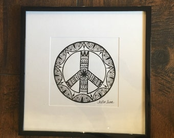 Original Handmade Peace.Love.Mandala Framed Art || Peace Art || Mandala Art || Hippie Art || Drawing || Hand Drawn|| Boho Art ||