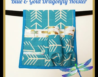 Blue & Gold Dragonfly Massage Lotion/Oil Holster-Made to Order-RIGHT HIP-Blue and Gold-Massage Lotion Holster-Massage Oil Holster-Massage