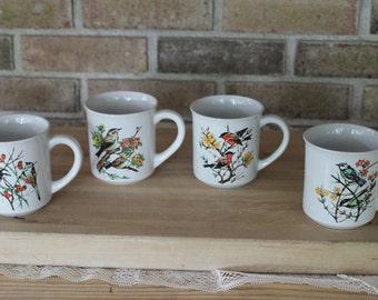 Vintage Bird Coffee Cup Set