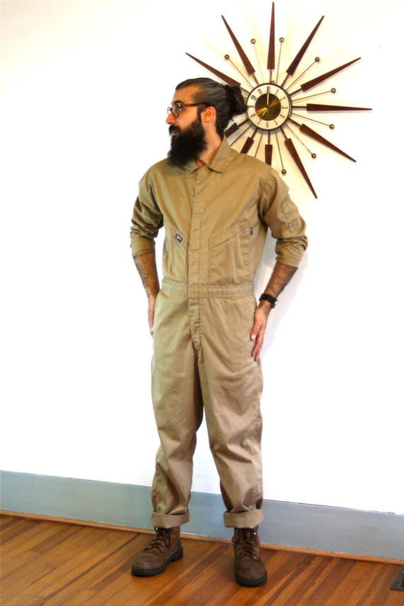 Vintage 80s Industrial Jumpsuit Light Brown Beige Khaki Cotton Onepiece Coverall Lapco FR HRC 2 Fireproof Unisex 1980s Men Workwear Overalls