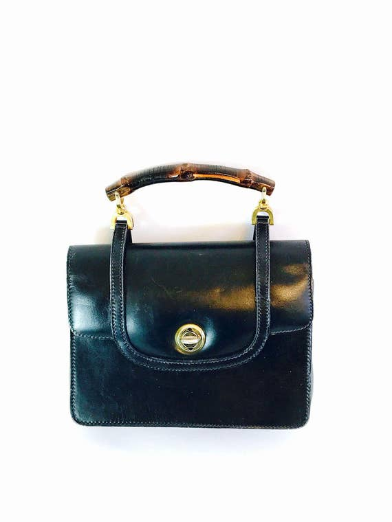 Authentic GUCCI 1950s Handbag Navy Blue Leather Bag Wood Bamboo Top Handle Pocketbook Stamped 50s True Vintage Designer Purse Made in Italy