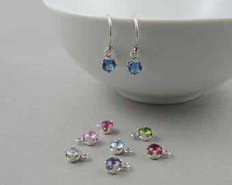 Birthstone Earrings - Sterling Silver Dangle Earrings, Gemstone Earrings, Birthday Gift, Crystal Earrings